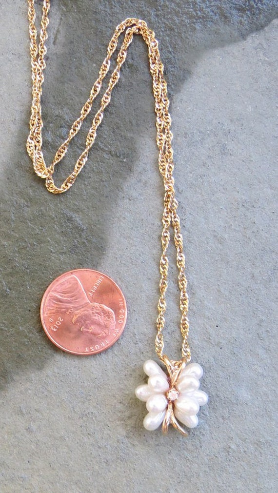 Vintage 14kt Gold Pearl and Diamond Necklace - image 5