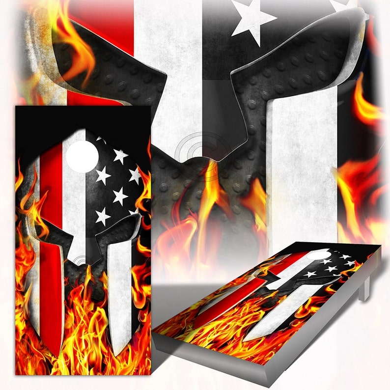 7f73b67f574 Cornhole Wraps Firefighter Thin Red Line American Flag