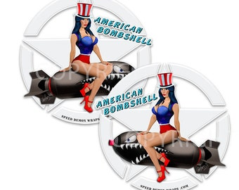 PinUp stickers American Pin Up Nose Art style stickers Set of 2 die cut decals AMERICAN BOMBSHELL choose size