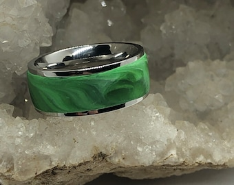 Surgical steel and marbled polymer clay ring (size 6 Green)