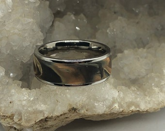 Surgical steel and marbled polymer clay ring (size 8.5 brown)