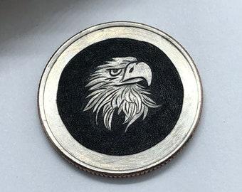 Carved Eagle Hobo nickel Coin (Quarter) Hobonickel art