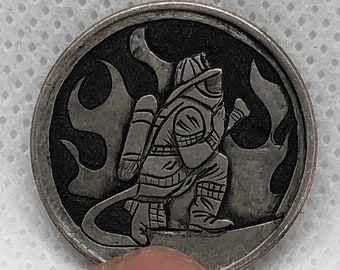 Carved Firefighter Hobo nickel Coin (Quarter) Hobonickel art