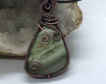 Copper wire wrapped green agate pendant