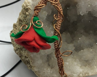 Copper wire Beauty and the beast red rose pendant