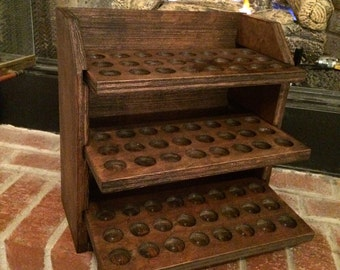 Essential oil storage shelf (holds 72 bottles) dark walnut