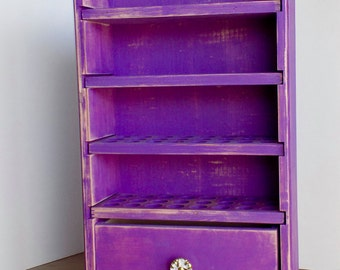 Essential Oil Shelf with a drawer 96 count - stained/painted - Rebecca