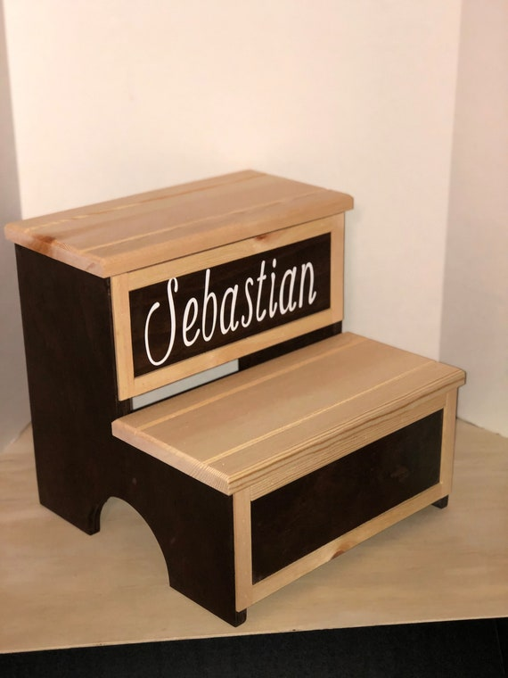 Step stool with storage area (personalized with name) 08/19
