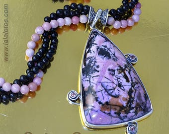 Matters of the Heart triangle abstract rhodonite and tourmaline pendant with or without rhodonite/agate beads