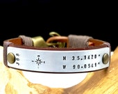 Mens Personalized Anniversary Gift for Men Custom Coordinates Leather Bracelet, Gift for Husband