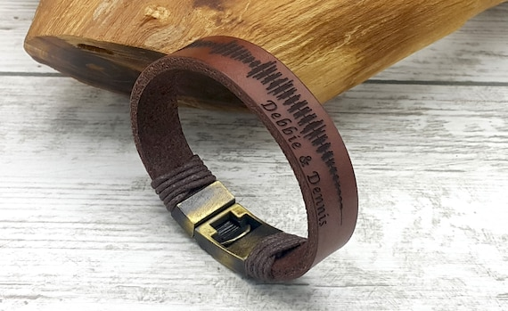 3rd Anniversary Gift For Mens Custom Engraved Real Leather Etsy