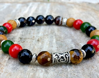 Gemstone Bracelet, Beaded Bracelet, Mens Bracelet, Mens Jewelry, Healing Natural Stones, Positive Energy, Calming Bracelet, Unique Mens Gift