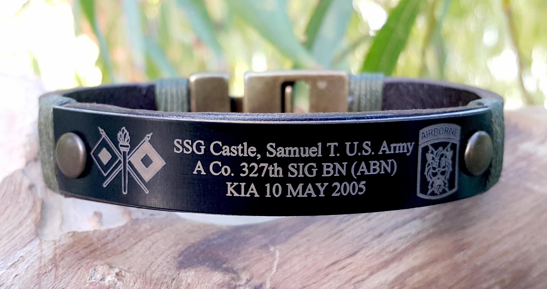 img gift hero engraved soldier bracelets memorial jewelry bracelet black products kia
