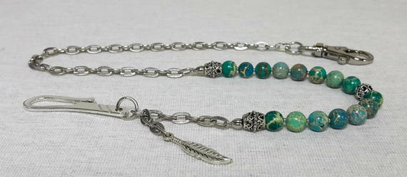 Chaîne de portefeuille perlé pour hommes - Mens Celebrity Style chaîne, jaspe naturel vert océan, charme de la plume spirituelle, véritable cadeau pour homme