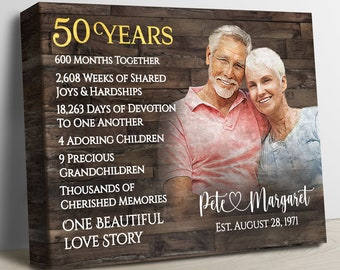 50th Anniversary Gift For Parents, Golden Anniversary Gift, Custom 50th Wedding Anniversary, 50 Years Married