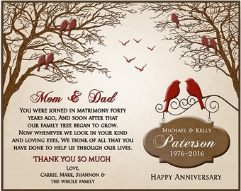 Ruby Anniversary Gift - 40th Anniversary Gift Ideas - 40th Wedding Anniversary Gift - Parents Anniversary Gift - Family Tree 8x10 PRINT