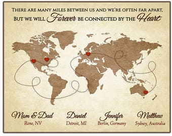 Long Distance Family Gift Parents Gift Mom and Dad Christmas Gift  Family Map Long Distance Parents Gift - Personalized Map