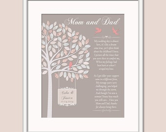 thank you gift for parents gift for mother and father of the bride thank you poem personalized mom and dad wedding day gift