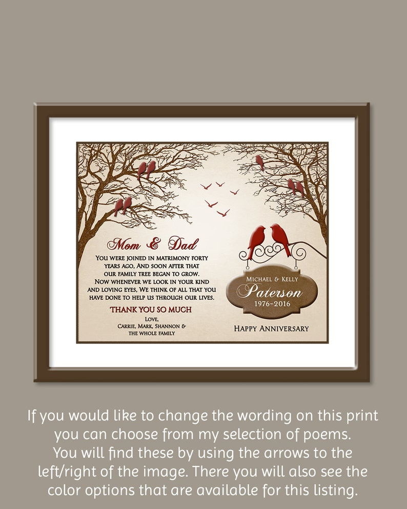 40th Wedding Anniversary Gift.Ruby Anniversary Gift 40th Anniversary Gift Ideas 40th Wedding Anniversary Gift Parents Anniversary Gift Family Tree 8x10 Print