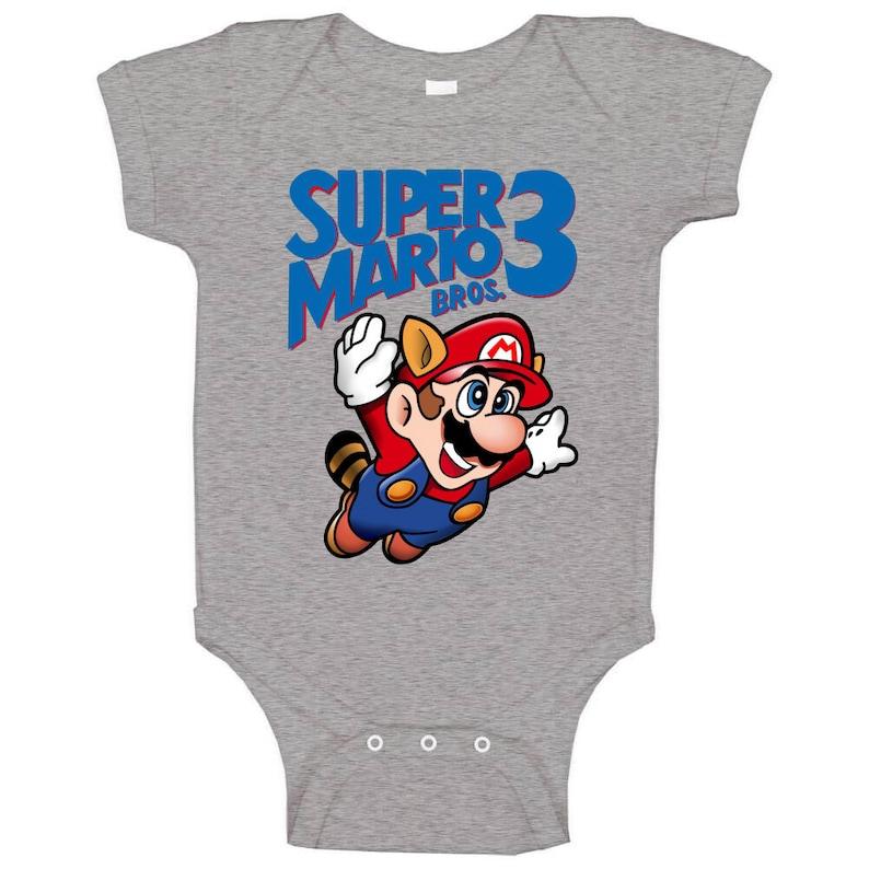 Super Mario Bros 3 Retro Nes Box Art Baby One Piece
