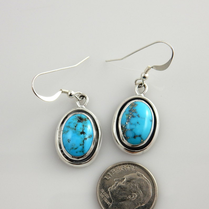 Silver Turquoise EarringsSterling Silver Turquoise Dangle EarringsHandmade Silver Turquoise EarringsKingman Blue Turquoise Earrings