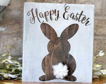 Easter Decor, Easter Bunny Wooden Sign, Easter Decorations, Rustic Easter Decor, Wood Spring Decor, Happy Easter Sign, Rustic Wood Sign