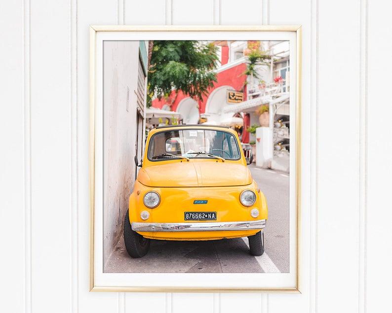 Italy Photography Positano Car Print Yellow Fiat Fiat image 0