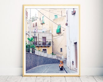 Sicily, Orange Vespa, Vespa Print, Sicily Print, Italy Wall Art, Wall Art Print, Italy Decor, Wall Decor, Italy Art, Sicily Art, Photo Italy
