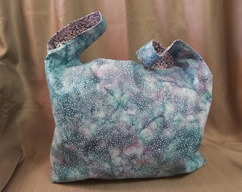 Reversible roll up shopping bags - Teal/Purple