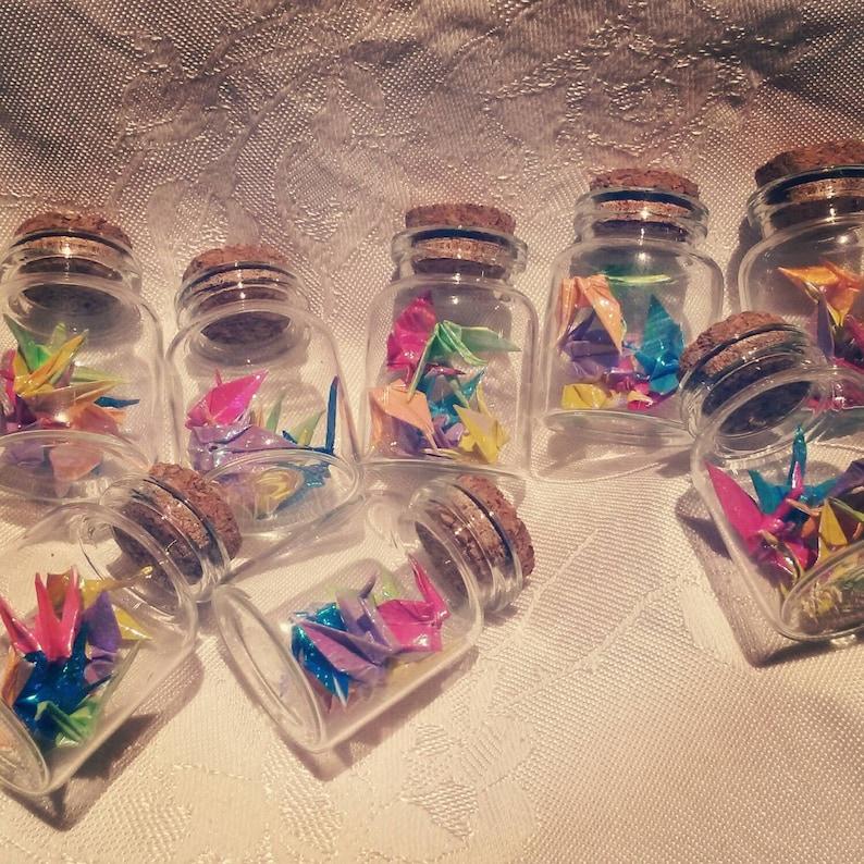 Delicate Origami Crane Bottled Rainbow pack of 5