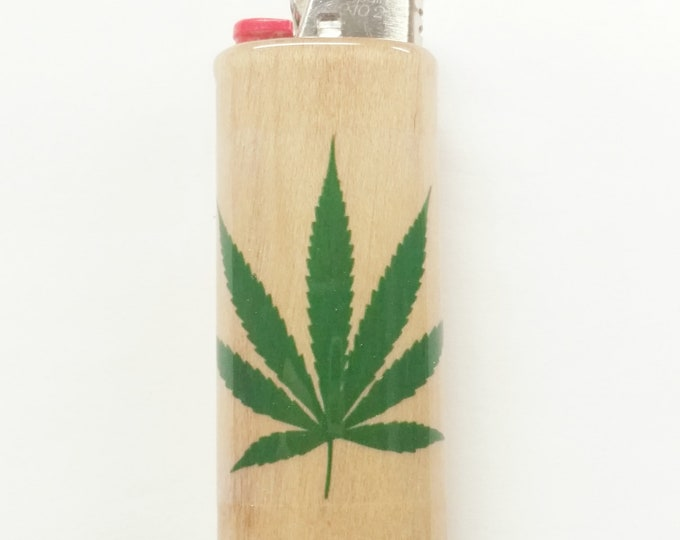 Marijuana Pot Leaf Wood Lighter Case Weed Ganja Hemp Holder Sleeve Cover Fits Bic Lighters