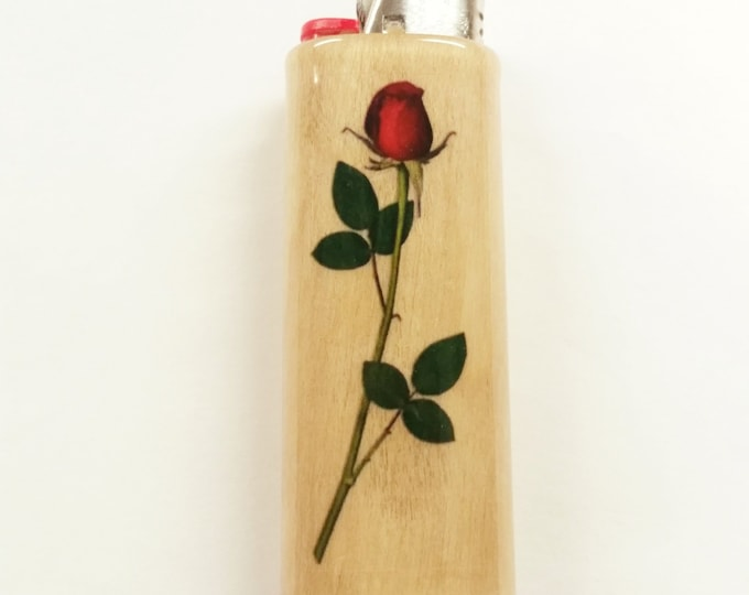 Long Stemmed Rose Flowers Roses Wood Lighter Case Holder Sleeve Cover Fits Bic Lighters