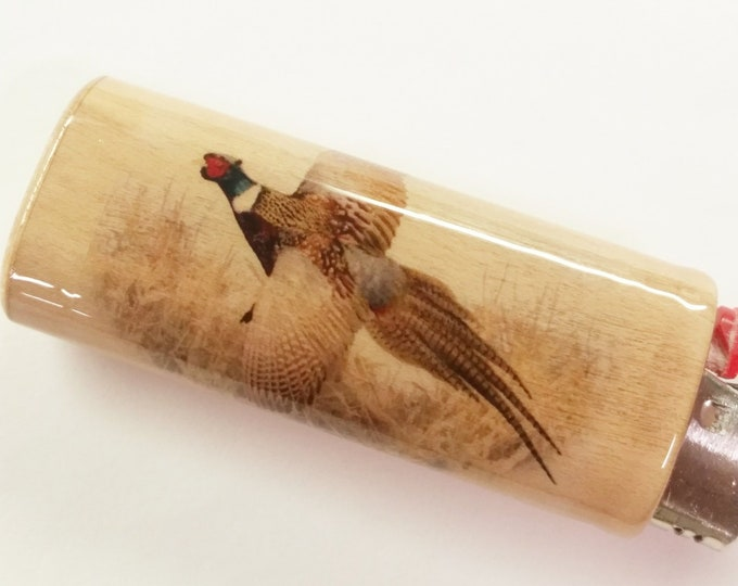 Pheasant Hunting Hunters Wood Lighter Case Holder Sleeve Cover Fits Bic Lighters