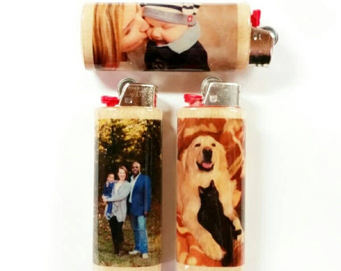 Custom Photo Wood Lighter Holder Case Sleeve Cover Personalized Image Gift Ideas Fits Bic Lighters