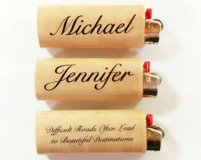 Custom Name Wood Lighter Holder Case Sleeve Cover Saying Personalized Inscribed Gift Idea Inscriptions Fits Bic Lighters