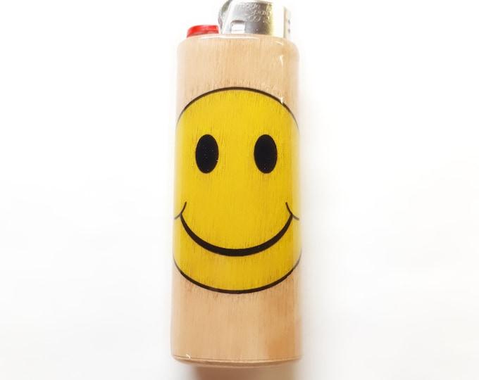 Smiley Face Wood Lighter Case Holder Sleeve Cover Fits Bic Lighters Fits Bic Lighters
