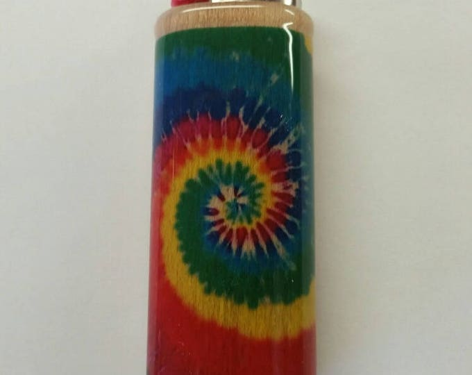 Tie Dye Wood Lighter Case Holder Sleeve Cover Fits Bic Lighters