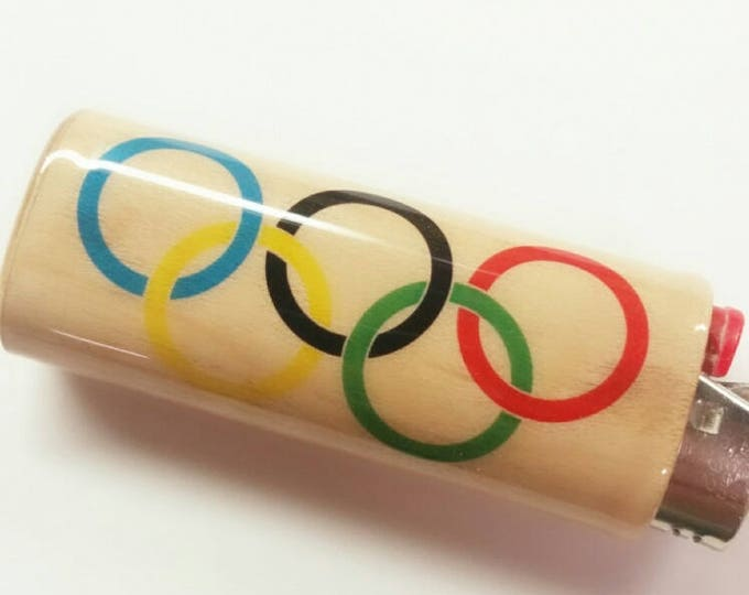 Olympic Games Olympics Wood Lighter Case Holder Sleeve Cover Summer Games Fits Bic Lighters