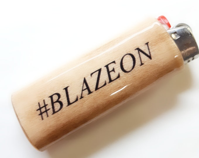Blaze On Wood Lighter Case Holder Sleeve Cover Fits Bic Lighters