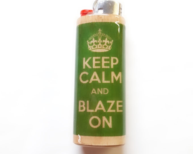 Keep Calm And Blaze On Wood Lighter Case Holder Sleeve Cover Fits Bic Lighters