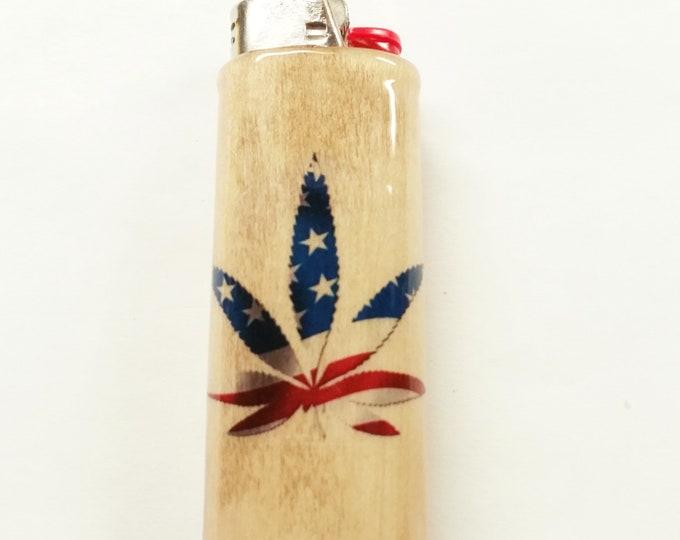 American Flag Pot Leaf Wood Lighter Case American Holder Sleeve Cover Fits Bic Lighters