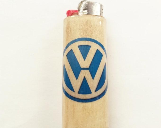Volkswagen Wood Lighter Case Holder Sleeve Cover Fits Bic Lighters