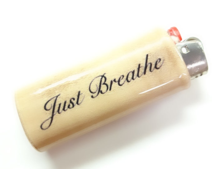 Just Breathe Wood Lighter Case Holder Sleeve Cover Fits Bic Lighters