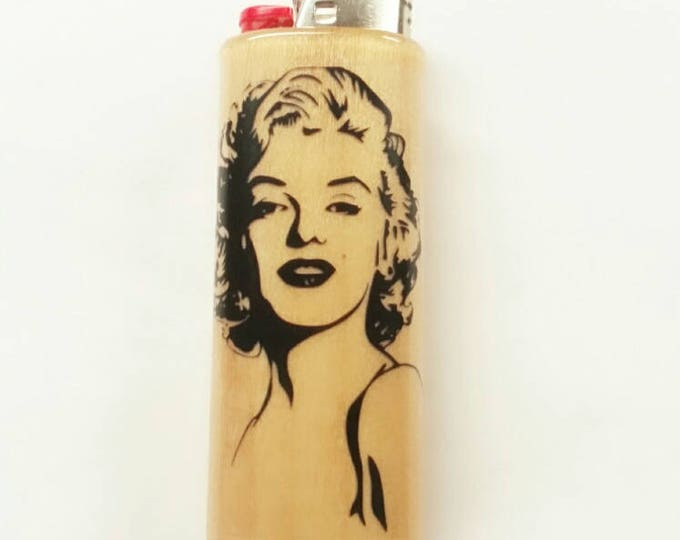 Marilyn Monroe Wood Lighter Case Holder Sleeve Cover Norma Jeane Fits Bic Lighters