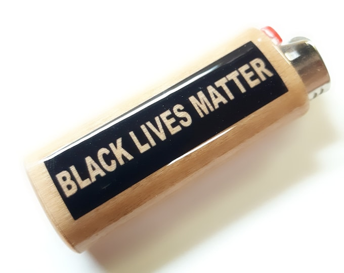 BLM Black Lives Matter Wood Lighter Case Holder Sleeve Cover Fits Bic Lighters