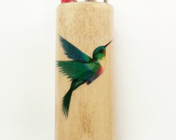Hummingbird Wood Lighter Case Holder Sleeve Cover Fits Bic Lighters
