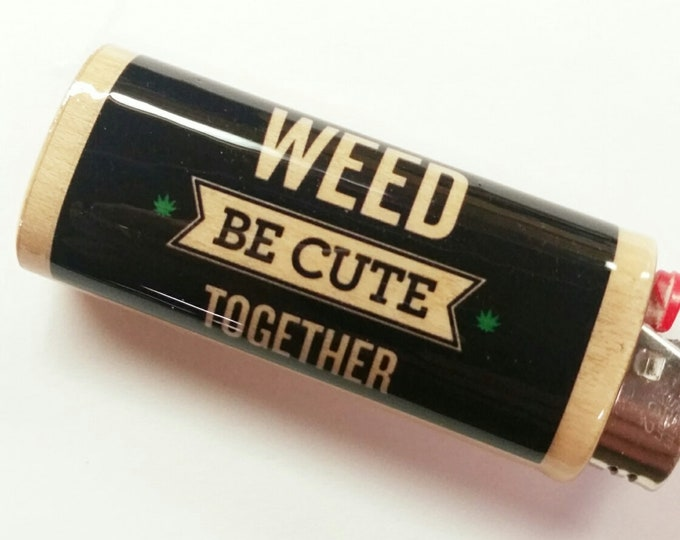 Weed Be Cute Together Wood Lighter Case Holder Sleeve Cover Fits Bic Lighters