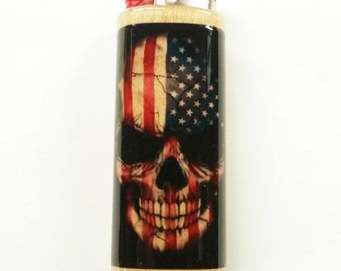 Skull Flag Wood Lighter Case American Holder Sleeve Cover Fits Bic Lighters