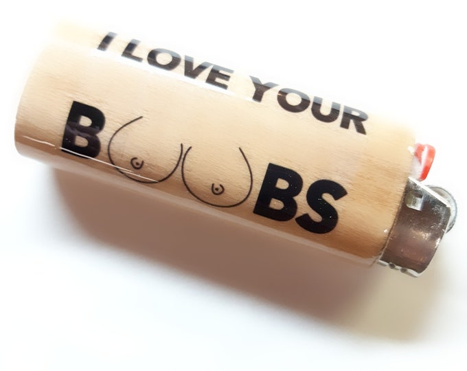 I Love Your Boobs Breasts Tits Wood Lighter Case Holder Sleeve Cover Fits Bic Lighters