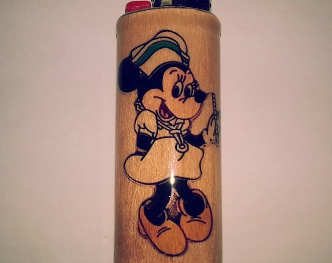 Minnie Mouse Wood Lighter Case Holder Sleeve Cover Fits Bic Lighters